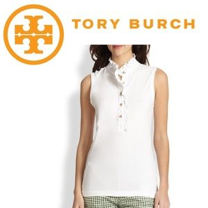 Tory Burch Lidia Ruffle Sleeveless Top - White - S